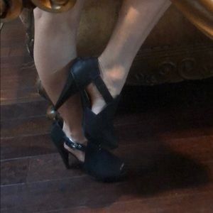 Michael Kors black leather awesome octagon heels